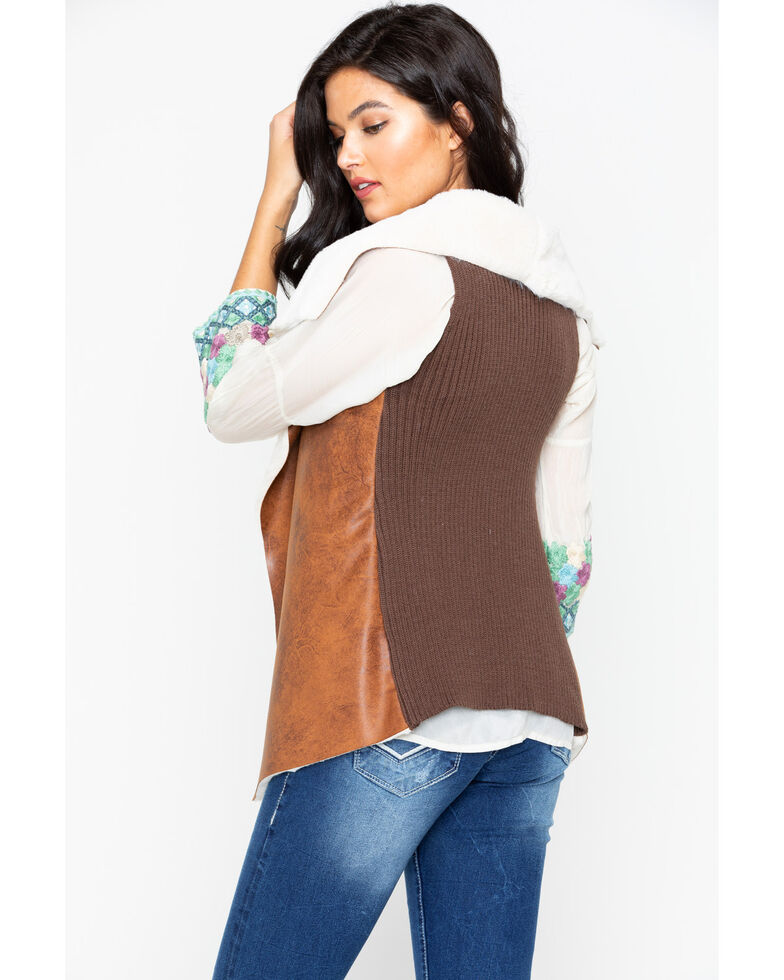 Cripple Creek Women's Distressed Open Front Faux Shearling Vest, Dark Brown, hi-res