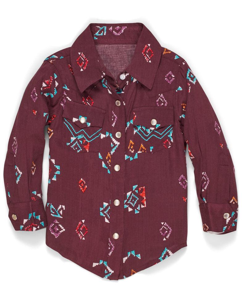 Wrangler Toddler Girls' Aztec Print Long Sleeve Western Shirt , Burgundy, hi-res