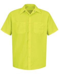 Red Kap Men's Enhanced Visibility Short Sleeve Work Shirt - Big , Yellow, hi-res