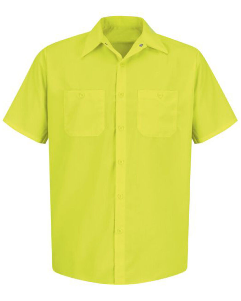 Red Kap Men's Enhanced Visibility Short Sleeve Work Shirt - Big , Yellow, hi-res