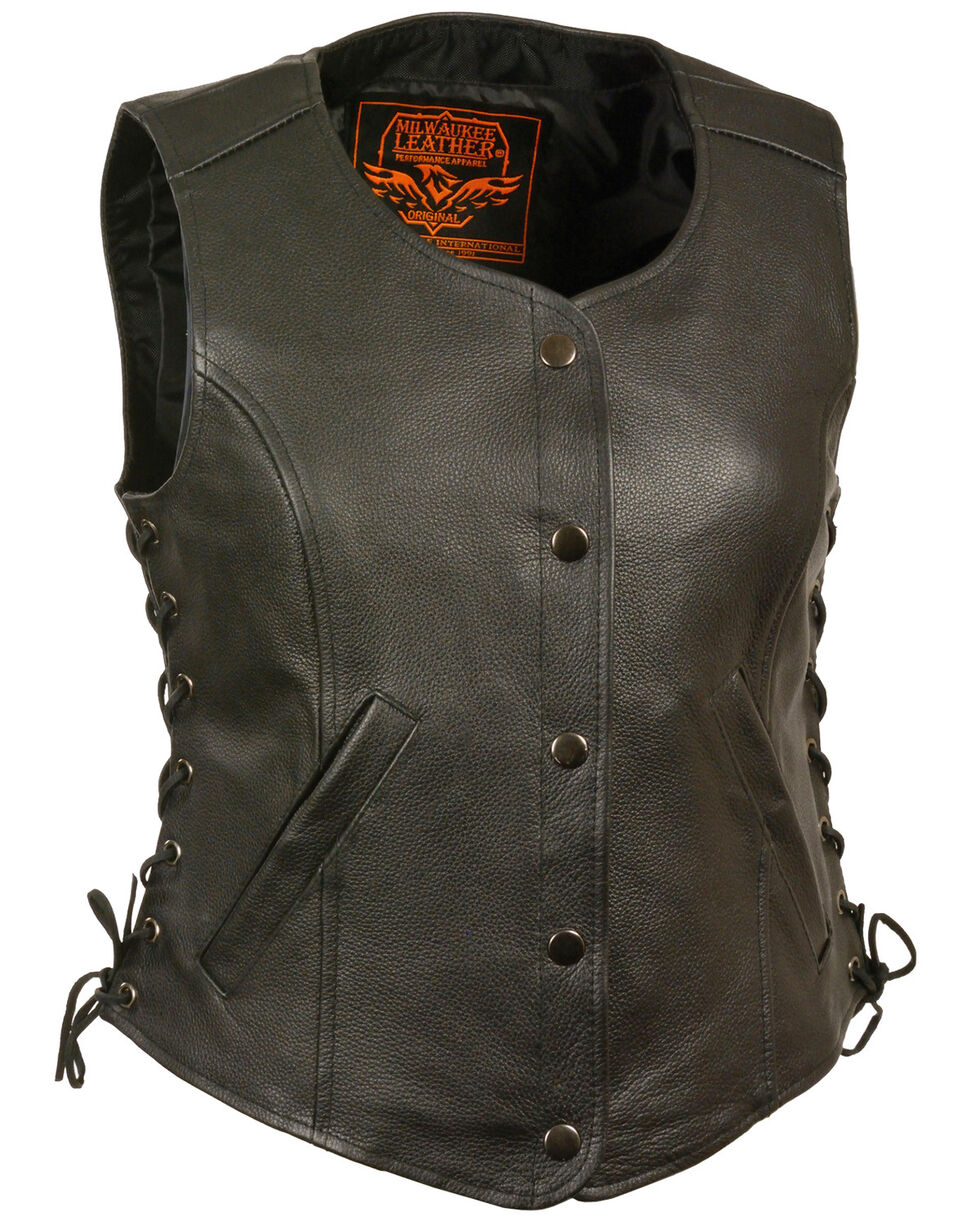 Milwaukee Leather Women's Side Lace Snap Front Vest - 4X, Black, hi-res