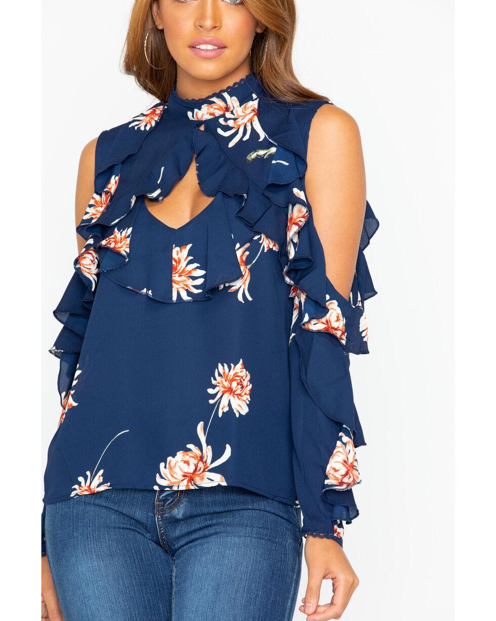 BB Dakota Women's Floral Cold Shoulder Top , Dark Blue, hi-res