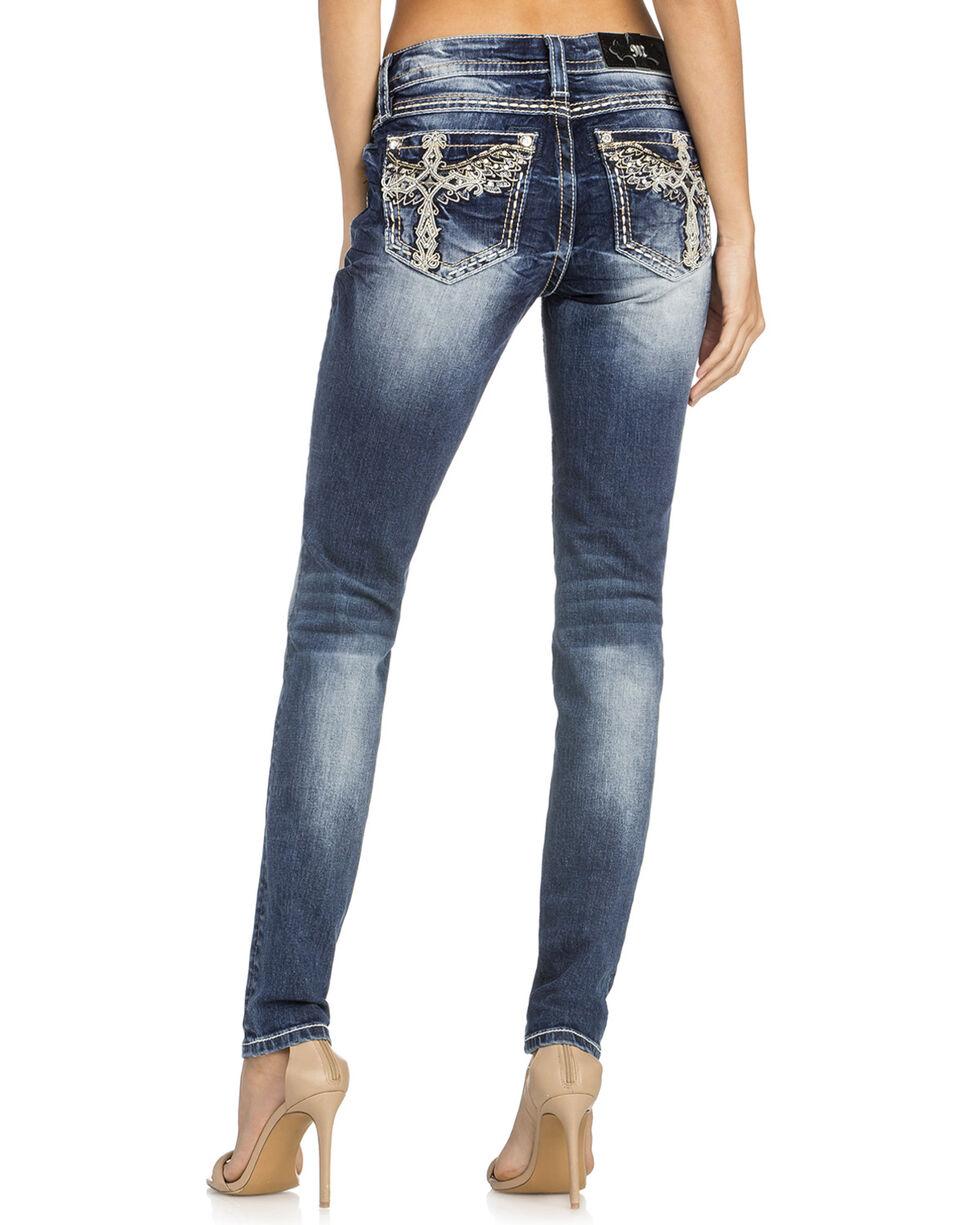 Miss Me Women's Winged Cross Skinny Jeans , Indigo, hi-res