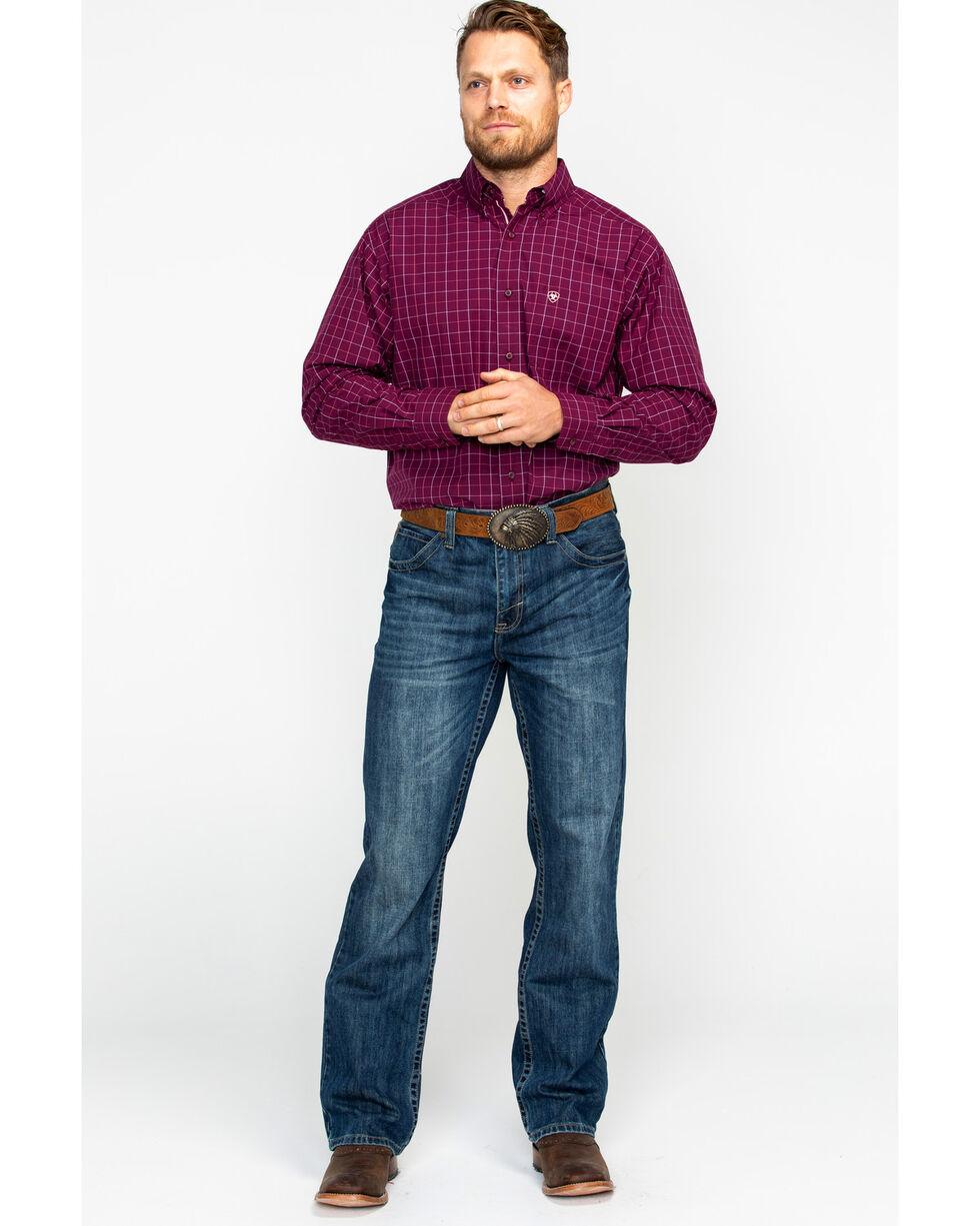 Ariat Men's Dunn Purple Dahlia Print Long Sleeve Western Shirt , Purple, hi-res