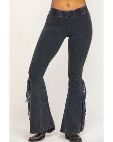 Rock & Roll Cowgirl Women's Mineral Wash Black Fringe Pants, Black, hi-res