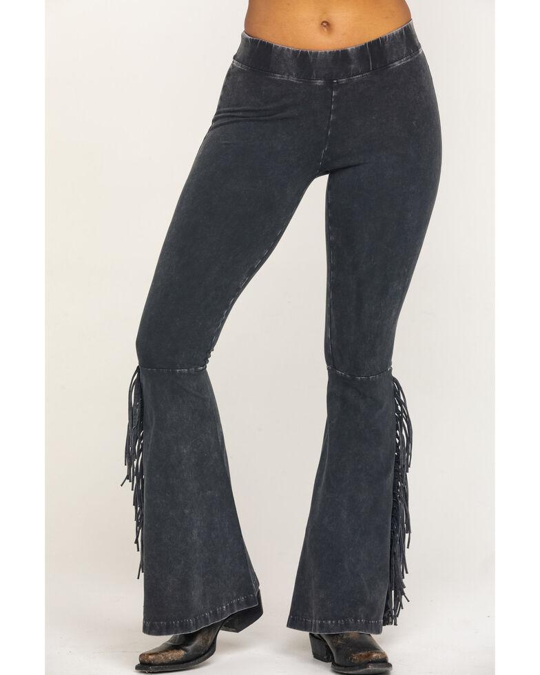 Rock & Roll Denim Women's Mineral Wash Black Fringe Pants, Black, hi-res