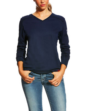 Ariat Women's Flame Resistant AC Top , Navy, hi-res