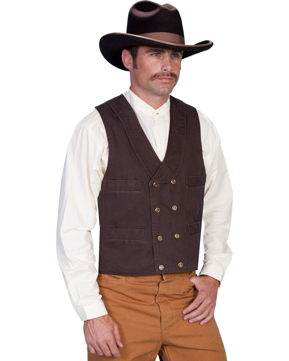 Rangewear by Scully Men's Double Breasted Vest, Walnut, hi-res