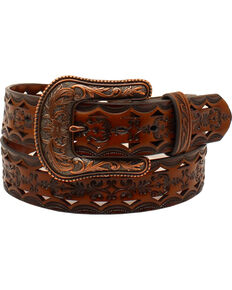Ariat Women's Western Laser Cut Leather Belt, Brown, hi-res