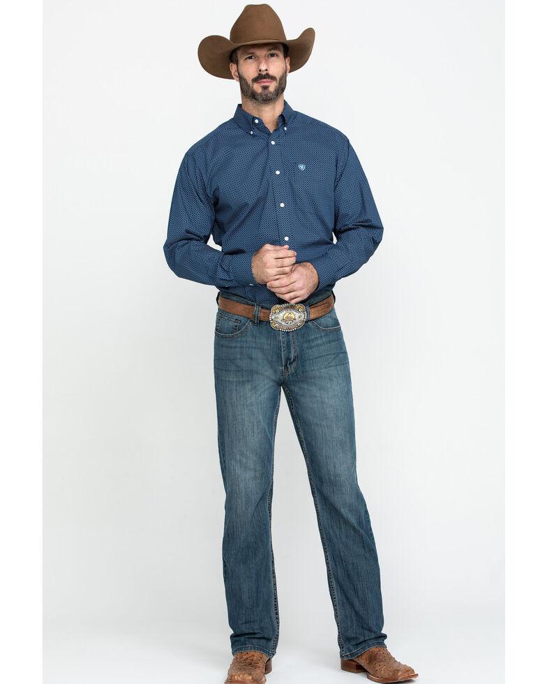 Ariat Men's Wrinkle Free Pismo Geo Print Long Sleeve Western Shirt - Big , Black, hi-res