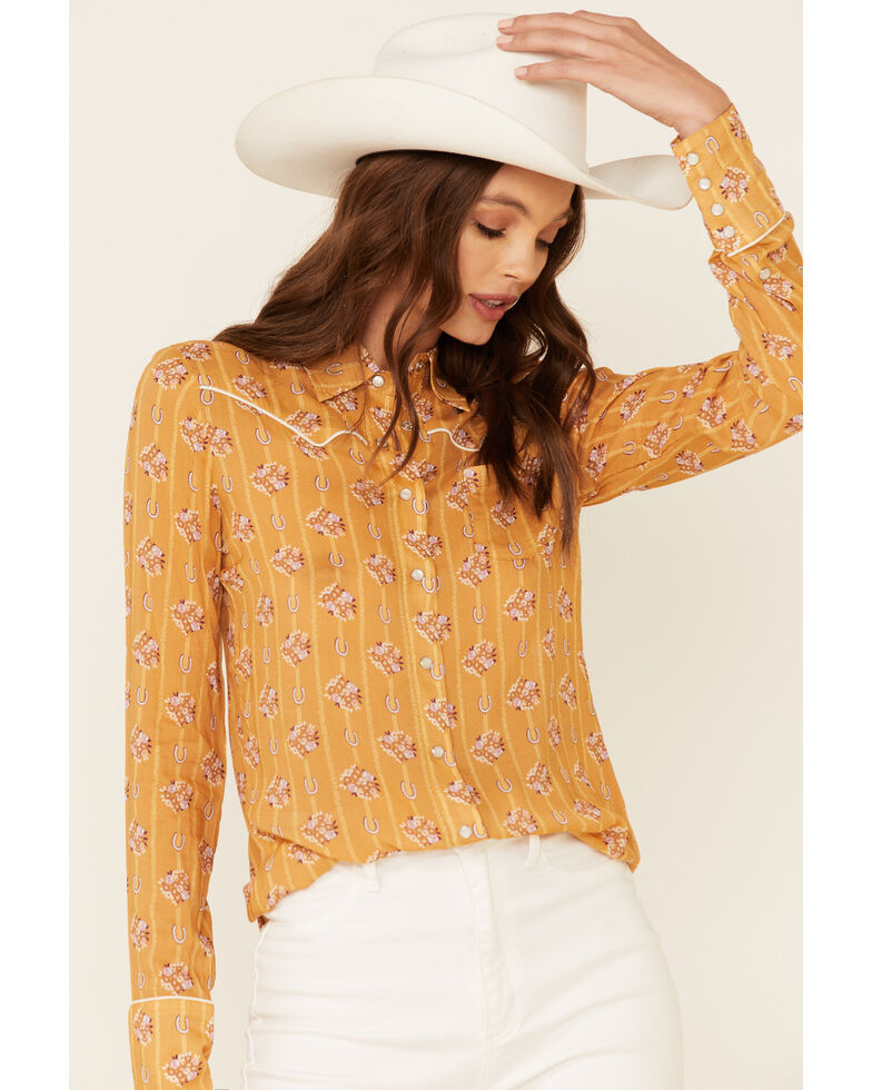 Stetson Women's Mustard Horseshoe Wallpaper Print Long Sleeve Snap Western Shirt , Mustard, hi-res