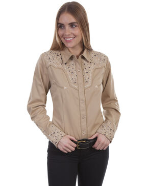 Scully Women's Vine Embroidered Long Sleeve Western Shirt, Tan, hi-res