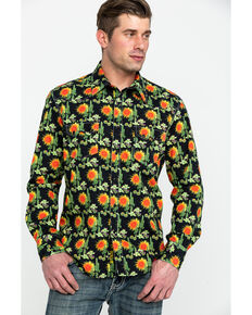 Dale Brisby Men's Washed Cactus Print Long Sleeve Western Shirt , Black, hi-res