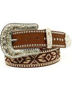 Blazin Roxx Women's Aztec Ribbon Belt , Brown, hi-res