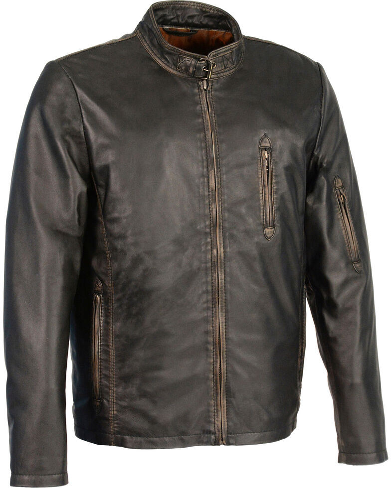 Milwaukee Leather Men's Brown Sheepskin Moto Racer Jacket - Big 5X, Black, hi-res