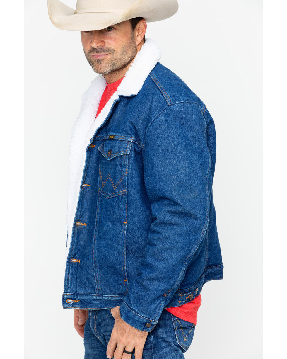 Wrangler Men's Sherpa Lined Denim Jacket, Denim, hi-res