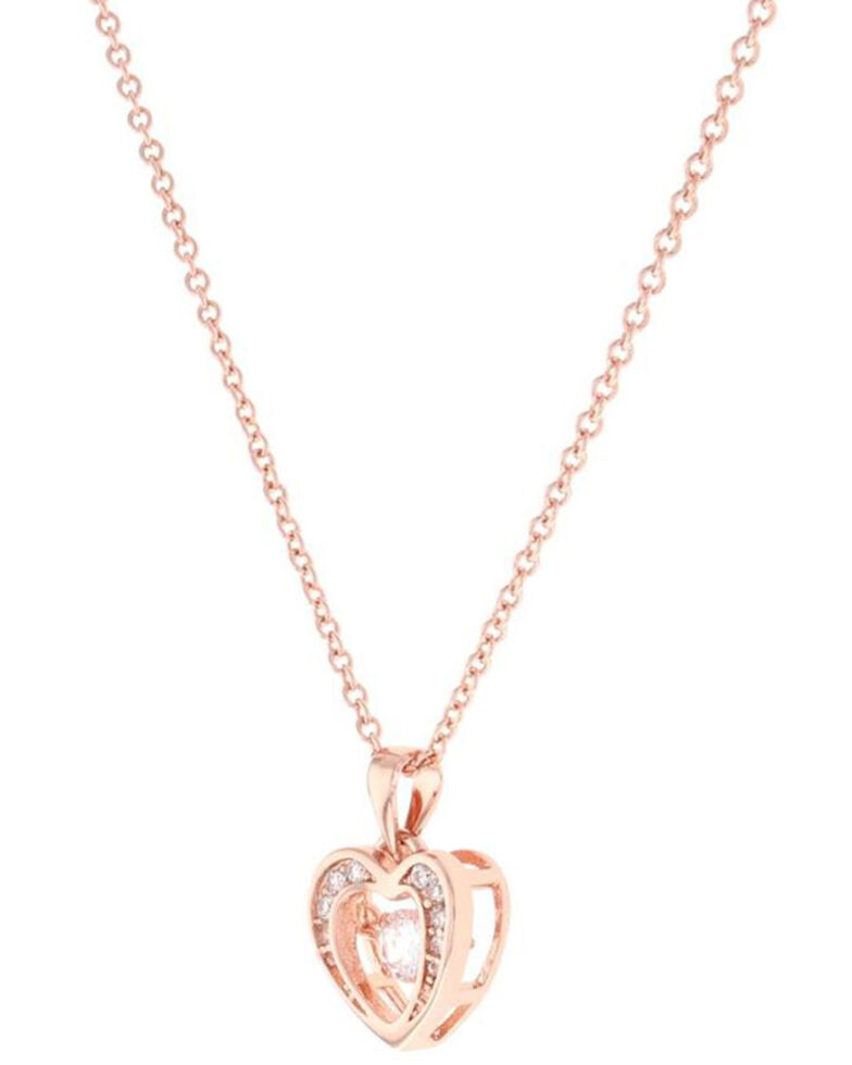 Montana Silversmiths Women's Let's Dance A Little Rose Gold Heart Necklace, Silver, hi-res