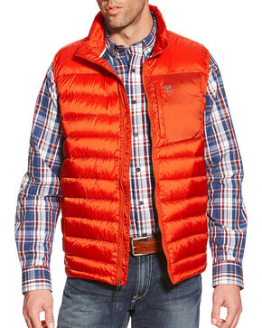 Ariat Men's Ideal Down Vest, Orange, hi-res