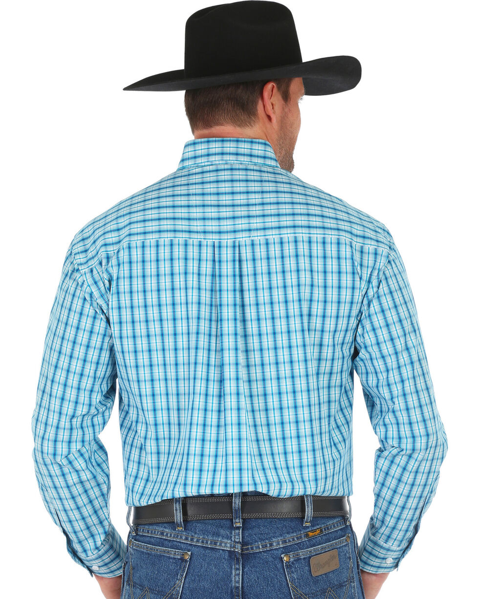 George Strait by Wrangler Men's Teal Plaid Long Sleeve Western Shirt , Teal, hi-res