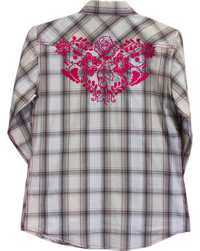 Cowgirl Hardware Girls' Rose Vine Long Sleeve Plaid Shirt, Cream, hi-res