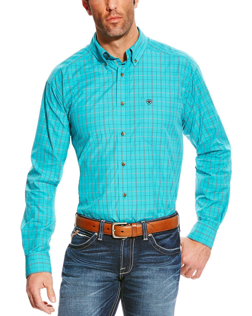 Ariat Men's Turquoise Pro Series Ashland Long Sleeve Shirt , Turquoise, hi-res