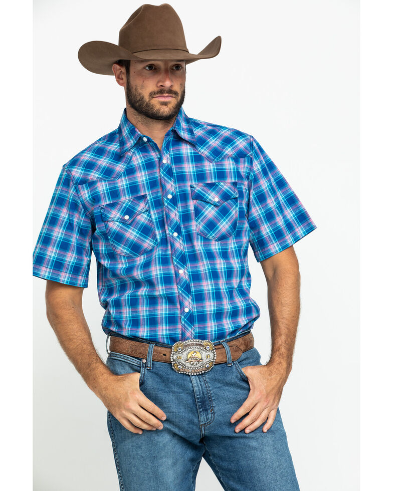Wrangler 20X Men's Advanced Comfort Blue Plaid Poplin Short Sleeve Western Shirt , Blue, hi-res