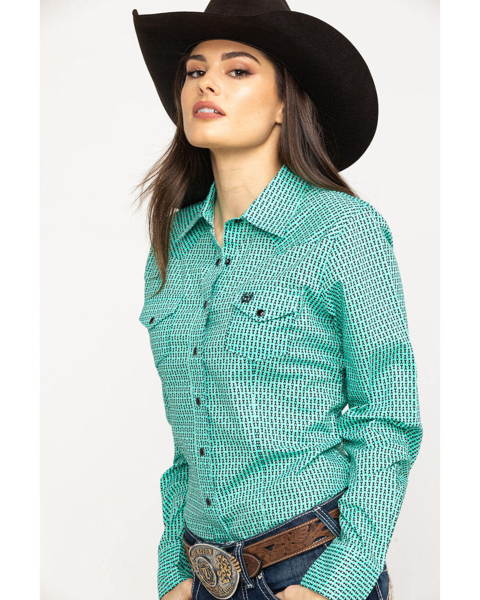 Cinch Women's Turquoise Snap Long Sleeve Western Shirt, Turquoise, hi-res