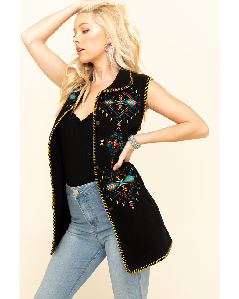 Outback Trading Co. Women's Black Aztec Embroidered Sabrina Fleece Vest, Black, hi-res