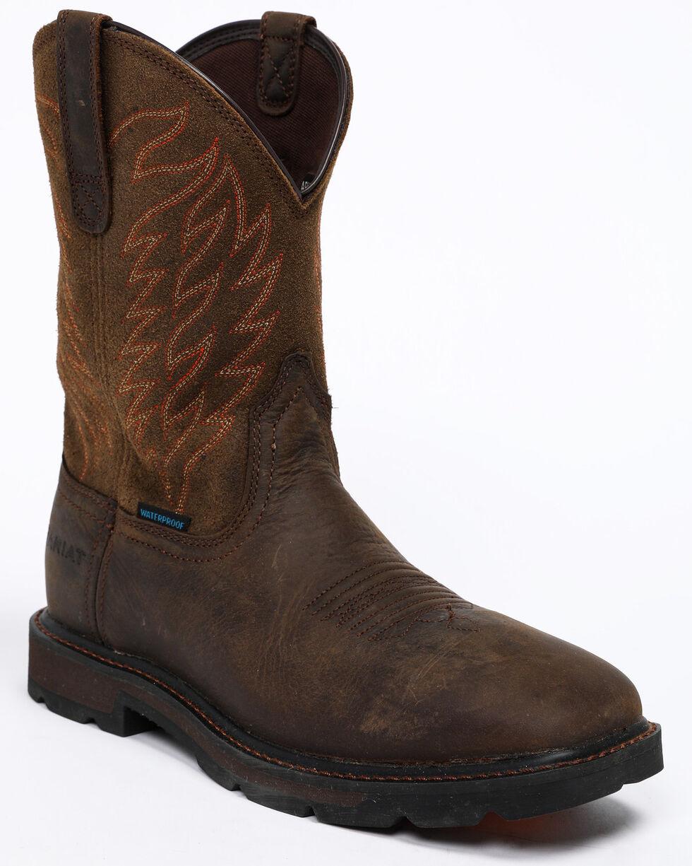 Ariat Men's Dark Brown Groundbreaker H20 Boots - Square Toe , Dark Brown, hi-res