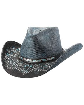 Bullhide Women's Smile Straw Hat, Blue, hi-res