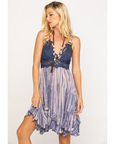 Free People Women's Tie Dye Adella Slip Dress , Blue, hi-res