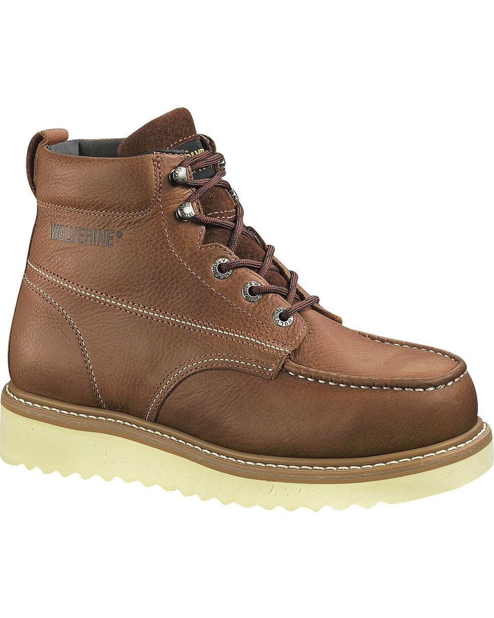 Wolverine Men's Moc Toe Steel Toe EH Work Boots, Honey, hi-res