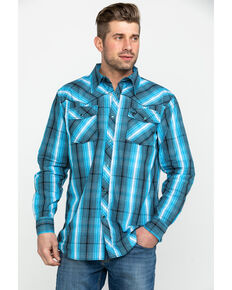 Cowboy Hardware Men's Midnight Plaid Long Sleeve Western Shirt , Blue, hi-res