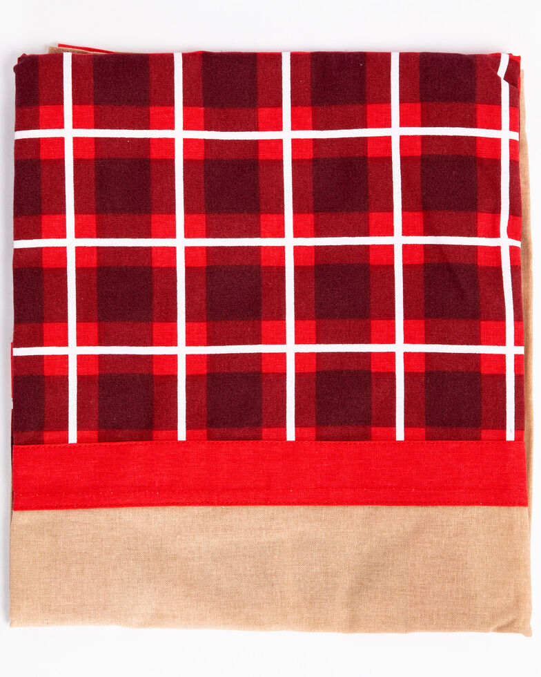 Boot Barn Ranch Red Plaid Christmas Apron , Red, hi-res