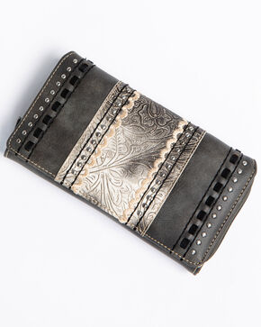 Shyanne Women's Tooled Metallic Wallet, Grey, hi-res