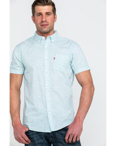 Levis Men's Teddy Poplin Print Short Sleeve Western Shirt , Blue, hi-res