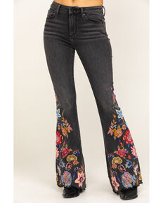 Driftwood Women's Farrah Ashy Bouquet Bootcut Embroidered Jeans, Black, hi-res