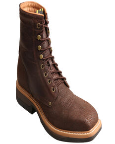 "Twisted X Men's 8"" Lite Western Work Lacer Boots - Alloy Toe, Brown, hi-res"