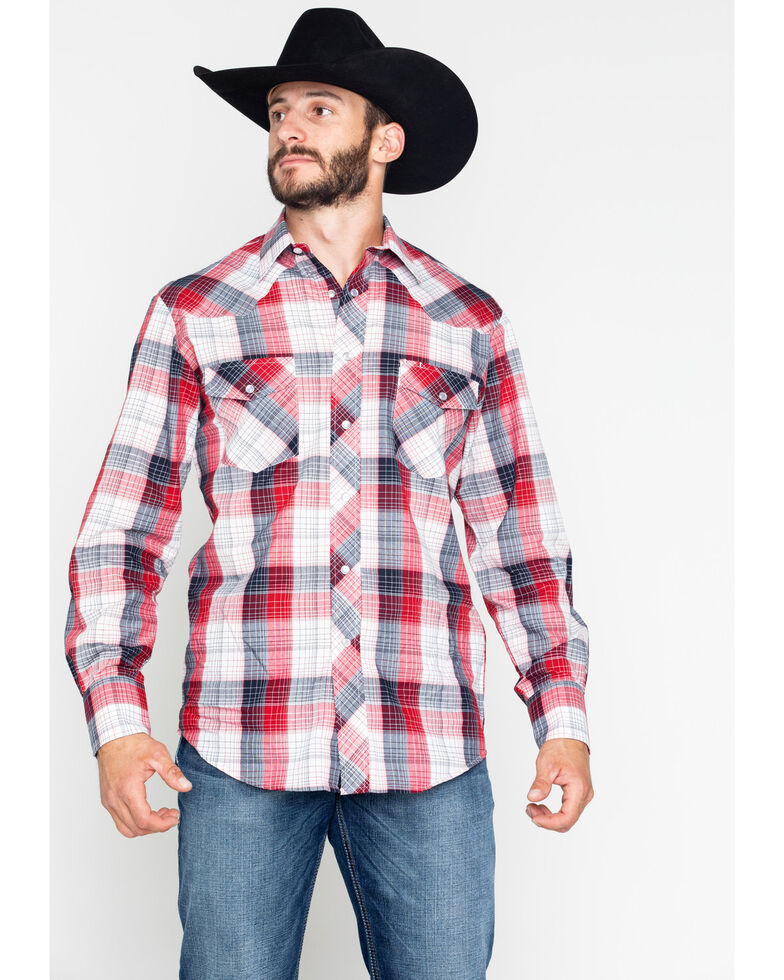 Roper Men's Red Medium Plaid Snap Long Sleeve Western Shirt , Red, hi-res