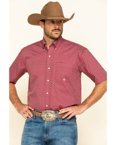 Roper Men's Amarillo Red Barn Geo Print Short Sleeve Western Shirt , Red, hi-res