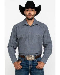 Rough Stock By Panhandle Men's Solitude Dobby Solid Long Sleeve Western Shirt , Grey, hi-res