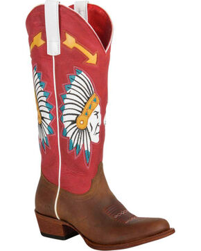 Macie Bean Chief So Cute Cowgirl Boots - Round Toe, Brown, hi-res
