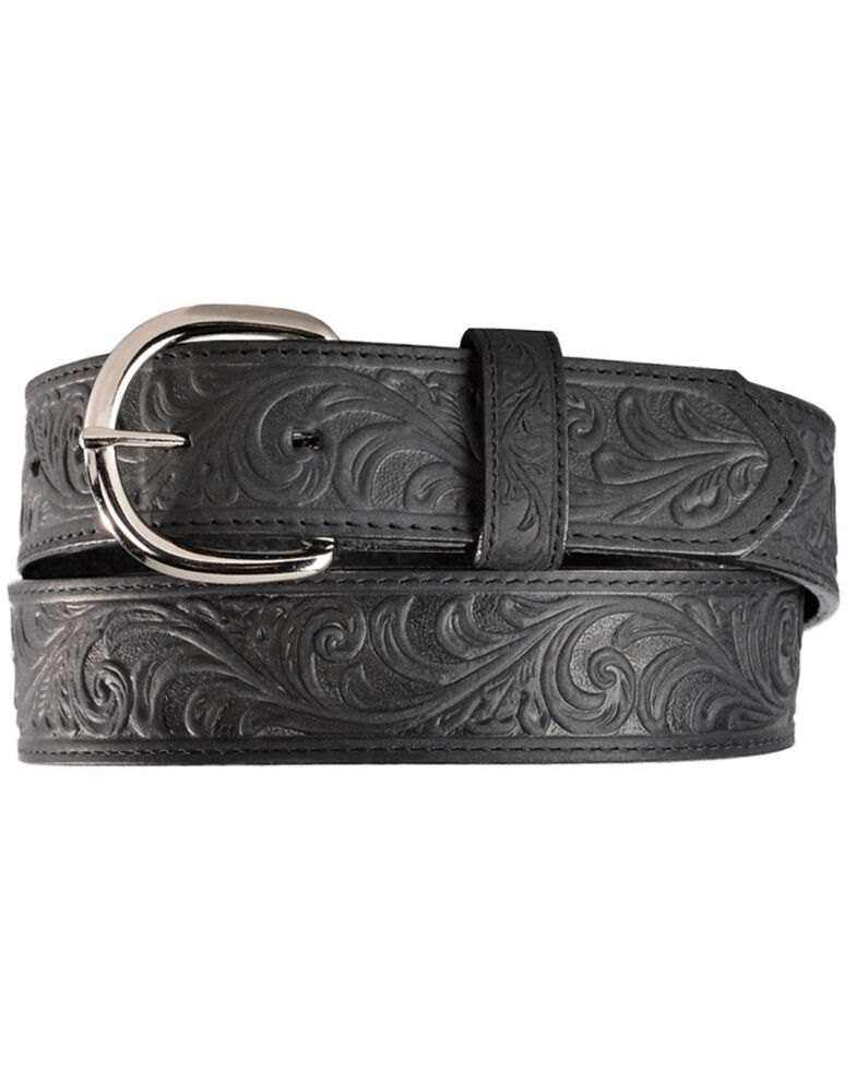 Justin Men's Black Hand Tooled Western Belt, Black, hi-res