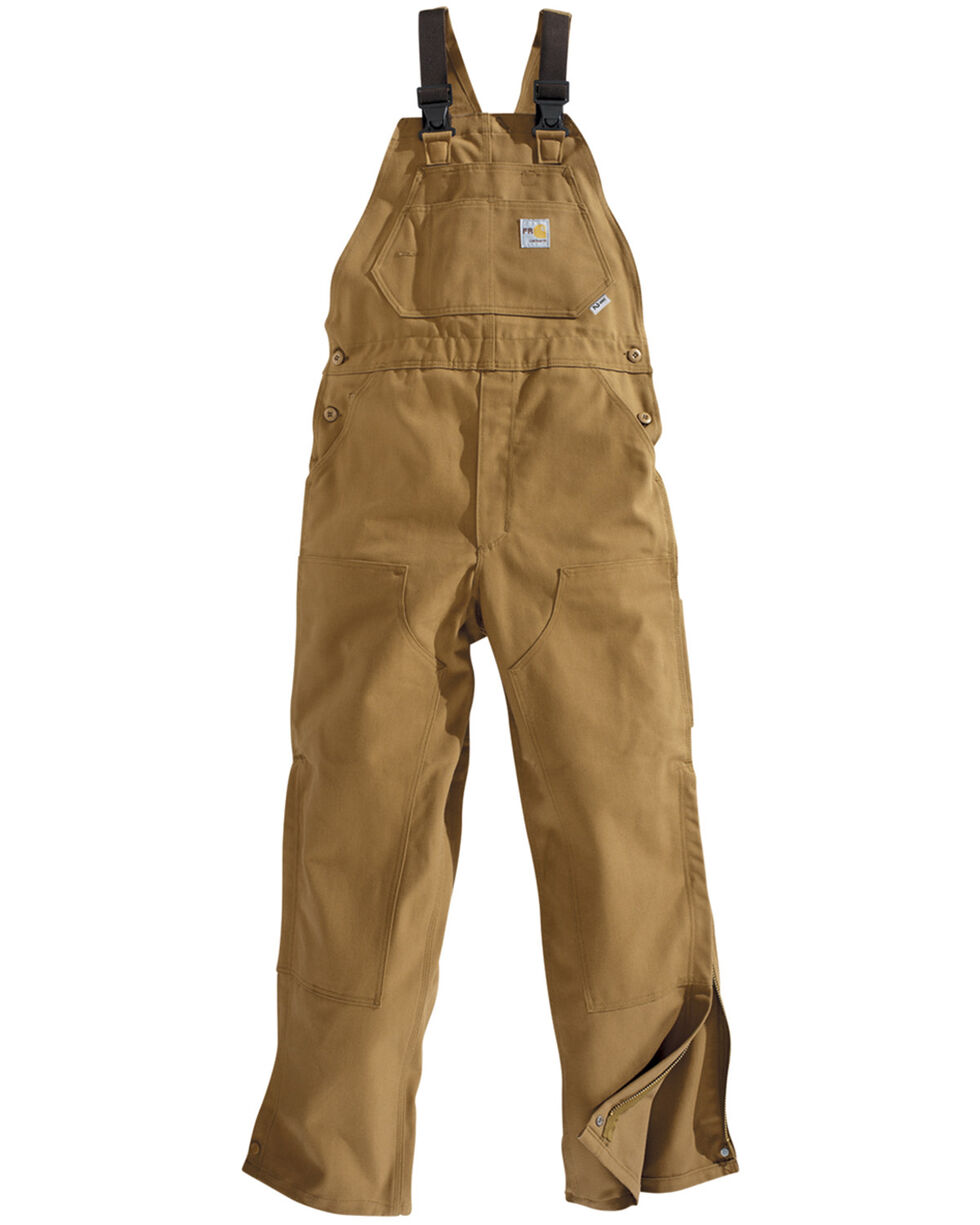 Carhartt Men's Flame Resistant Duck Overalls, Carhartt Brown, hi-res