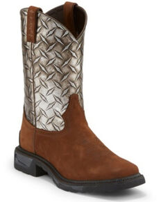 Tony Lama Men's Diboll Diamond Plate Western Work Boots - Soft Toe, Brown, hi-res