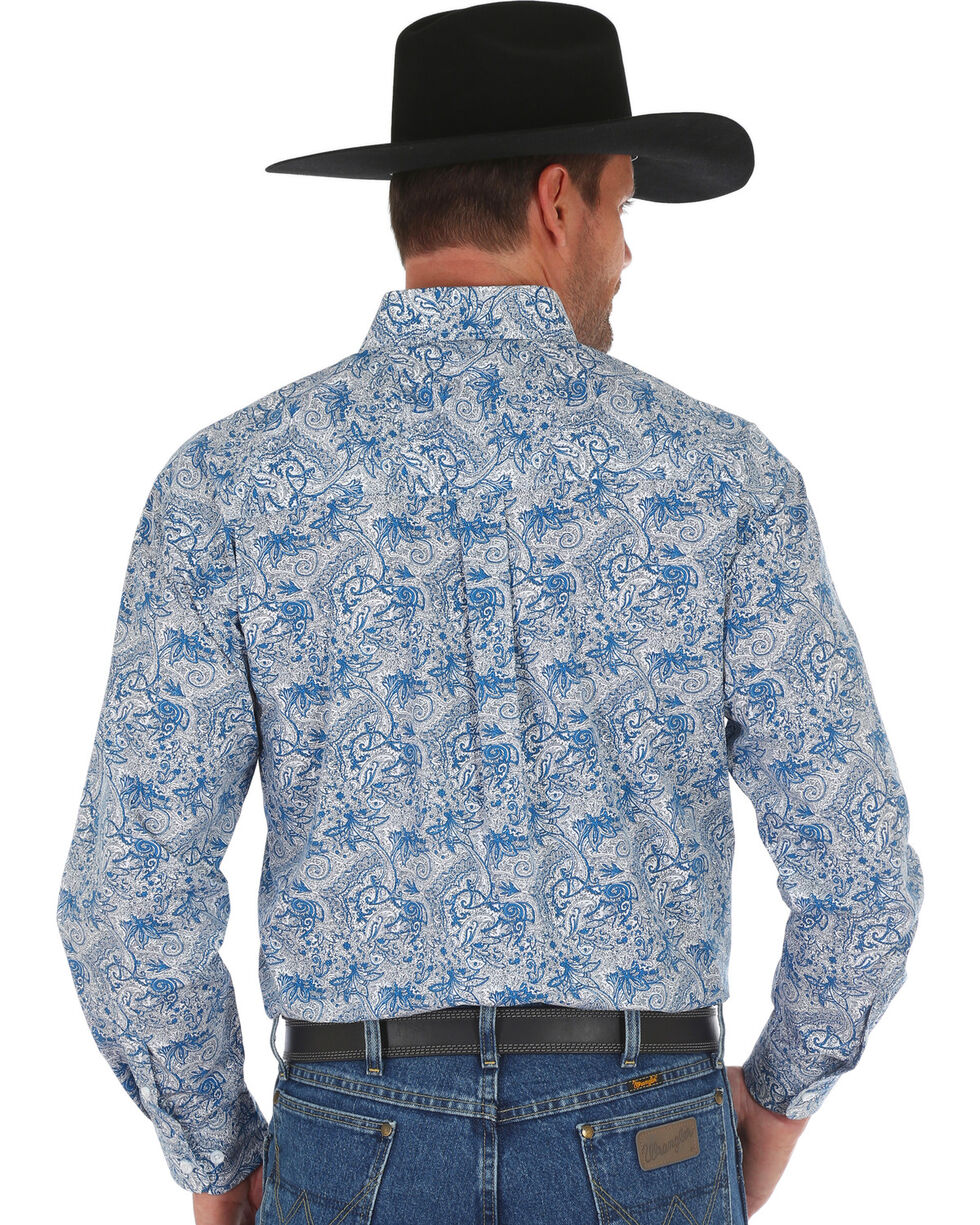 George Strait by Wrangler Men's Blue Floral Print Shirt , Dark Blue, hi-res
