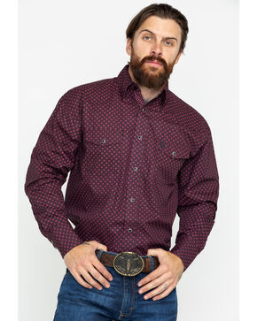 George Strait by Wrangler Men's Geo Print Troubadour Long Sleeve Western Shirt, Wine, hi-res