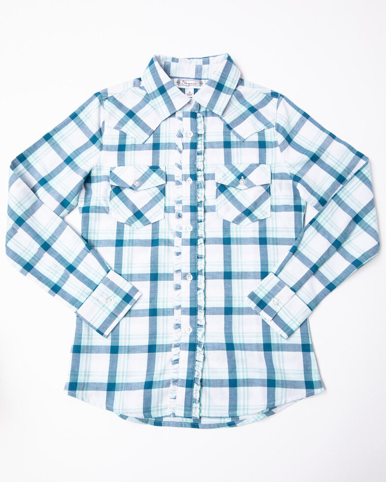 Shyanne Girls' Blue Plaid Ruffle Woven Long Sleeve Western Shirt, Teal, hi-res