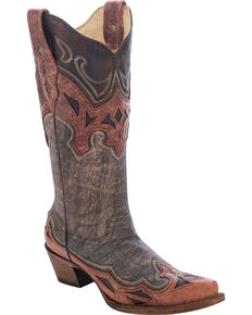 Corral Women's Vintage Inlay Western Boots, Brown, hi-res