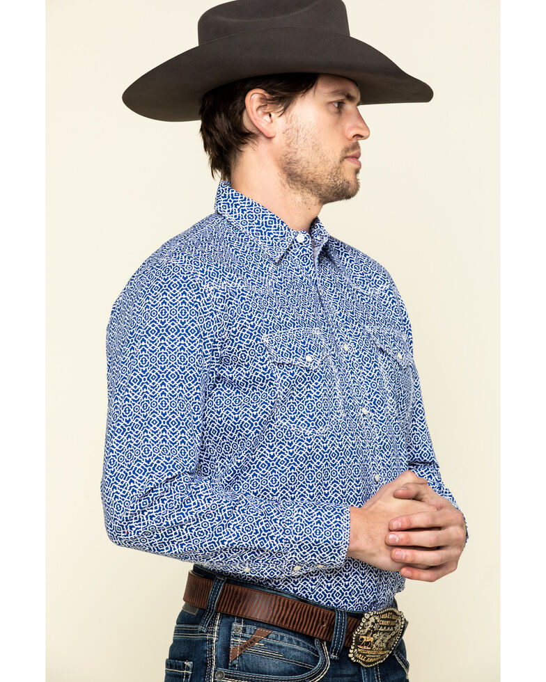 Wrangler 20X Men's Advanced Comfort Blue Geo Print Poplin Long Sleeve Western Shirt , Blue, hi-res